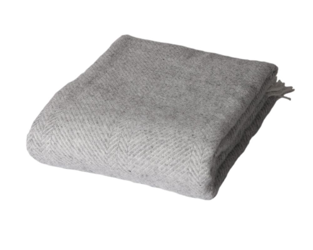 Herringbone - Light Grey 100 % uld Sengekompagniet